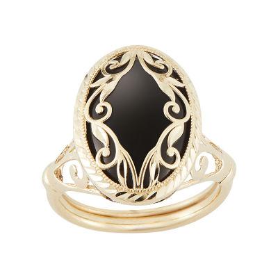 Genuine Black Onyx 10K Gold Drop Earrings