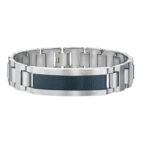 Silver Tone Tungsten 8 1/2 Inch Solid Link Bracelet