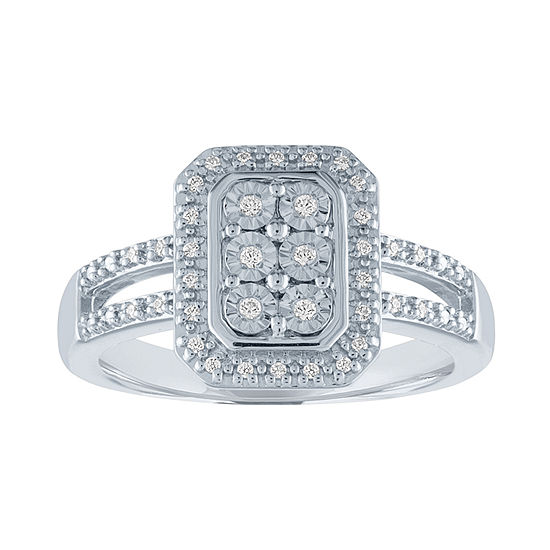 Womens 1/10 CT. T.W. Genuine Diamond Cocktail Ring