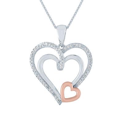 Womens 1/10 CT. T.W. Genuine Diamond 14K Rose Gold Over Silver Heart Pendant