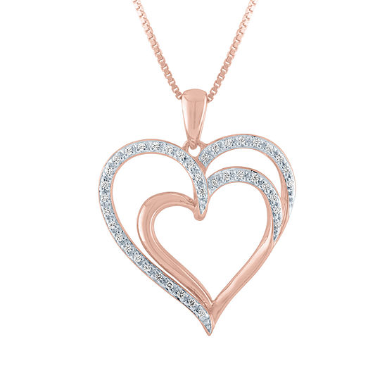 Womens 1/10 CT. T.W. Genuine Diamond 14K Rose Gold Over Silver Heart Pendant