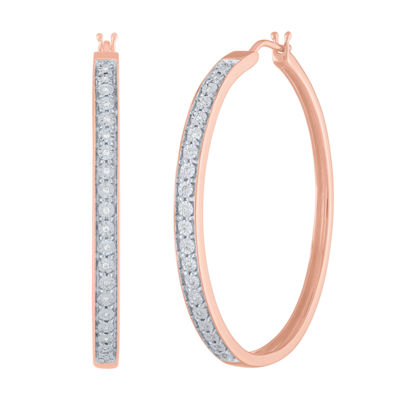 1/10 CT. T.W. Genuine Diamond 14K Rose Gold Over Silver 40mm Hoop Earrings