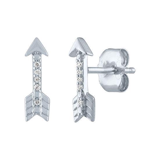 """Fearless"" Diamond Accent Genuine Diamond Sterling Silver 11mm Stud Earrings"