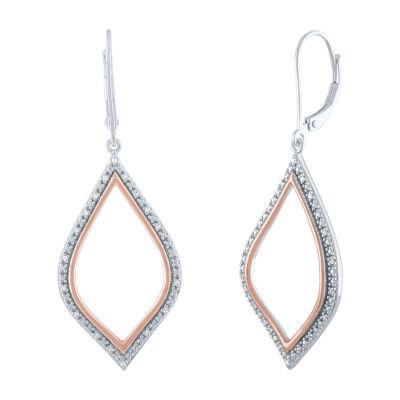 1/10 CT. T.W. Genuine Diamond 14K Rose Gold Over Silver Drop Earrings