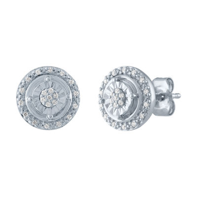 Diamond Blossom 1/10 CT. T.W. Genuine Diamond Sterling Silver Stud Earrings