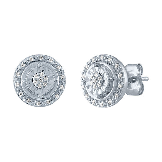 Diamond Blossom 1/10 CT. T.W. Genuine Diamond Sterling Silver Stud Earrings