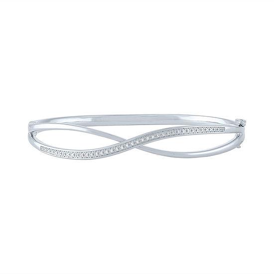 1/10 CT. T.W. Genuine Diamond Sterling Silver Bangle Bracelet