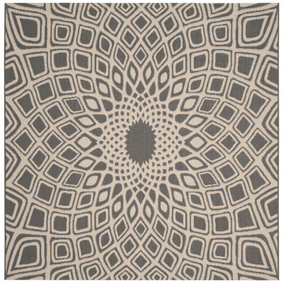 Safavieh Courtyard Collection Jacinth Geometric Indoor/Outdoor Square Area Rug