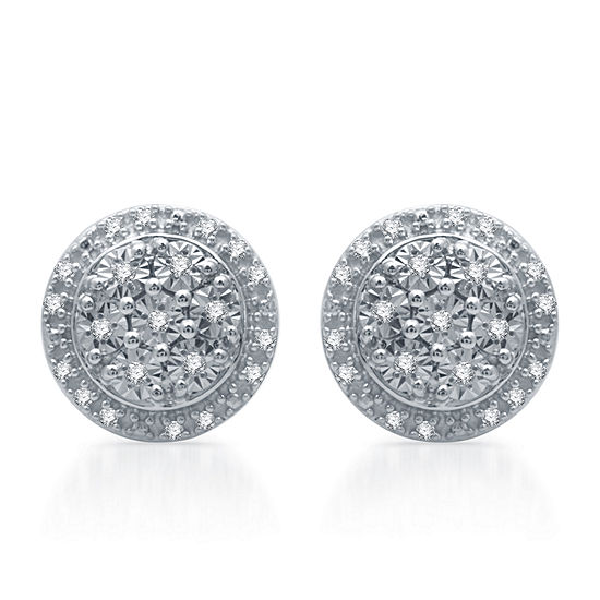 LIMITED TIME SPECIAL! 1/10 CT. T.W. Genuine Diamond 9.3 mm Stud Earrings in Sterling Silver