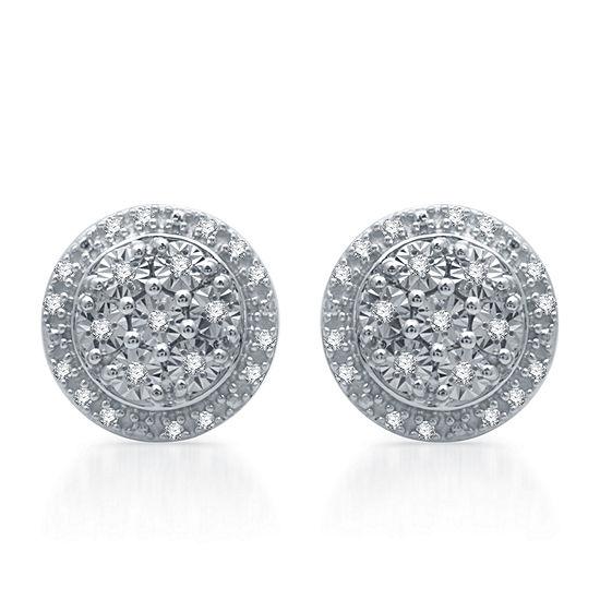 1/10 CT. T.W. Genuine Diamond 9.3 mm Stud Earrings in Sterling Silver
