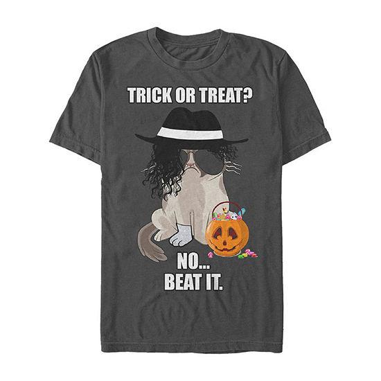 Grumpy Cat Halloween Costume Trick Or Beat It Mens Crew Neck Short Sleeve Graphic T-Shirt
