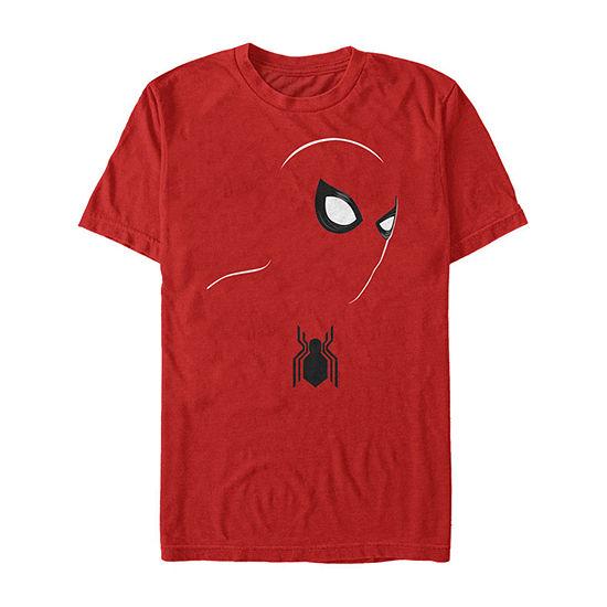 Marvel Spider-Man Far From Home Outline Mask Mens Crew Neck Short Sleeve Marvel Graphic T-Shirt