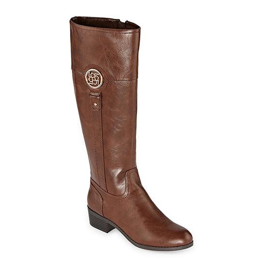 Liz Claiborne Womens Tilia Riding Boots Stacked Heel