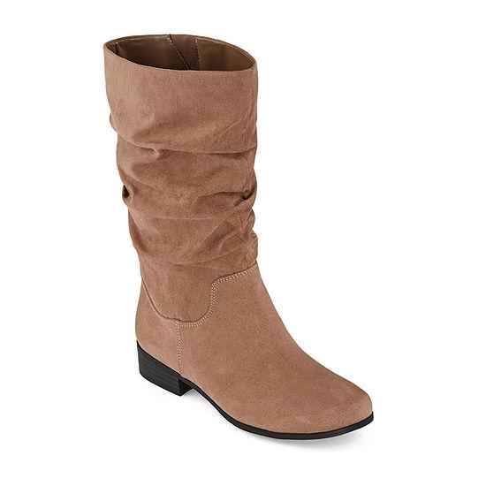 east 5th Womens Jarrett Wide Calf Slouch Block Heel Boots