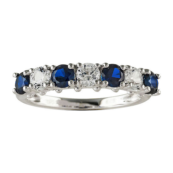 Blue and White Lab-Created Sapphire Sterling Silver Ring