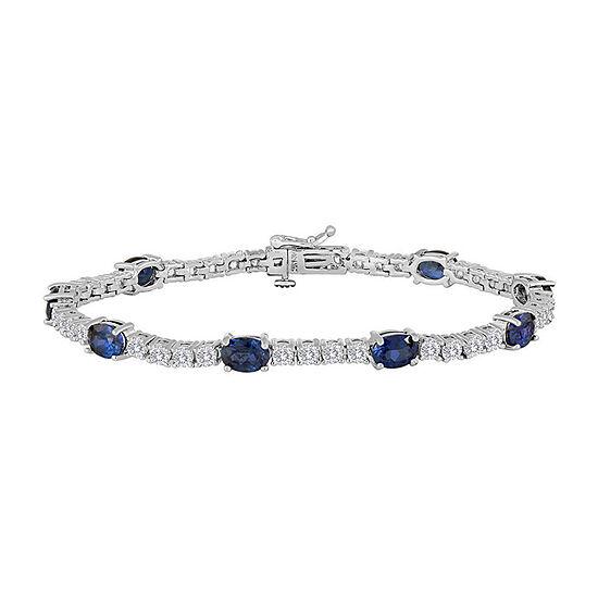 Lab Created Blue Sapphire Pure Silver Over Brass Tennis Bracelet