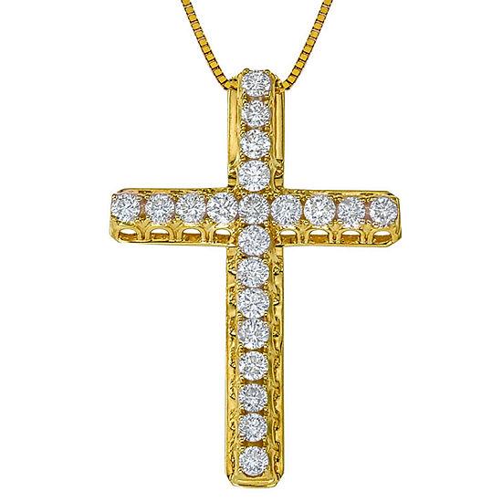 Womens 1/2 CT. T.W. Genuine White Diamond 14K Gold Cross Pendant Necklace