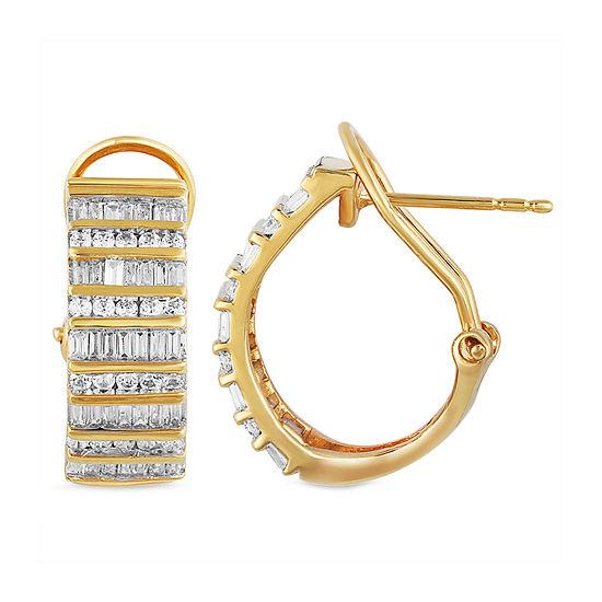 1 CT. T.W. Genuine Diamond 10K Gold 18.3mm Hoop Earrings