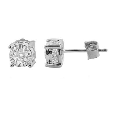 Tru Miracle 1 CT. T.W. Genuine White Diamond 14K Gold 6.2mm Stud Earrings