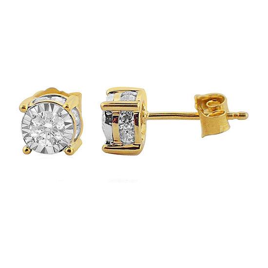 Tru Miracle 1 CT. T.W. Genuine White Diamond 14K Gold 6.2mm Stud Earrings