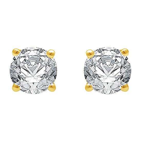 Classic Collection 3/4 CT. T.W. Genuine White Diamond 10K Gold Round Stud Earrings