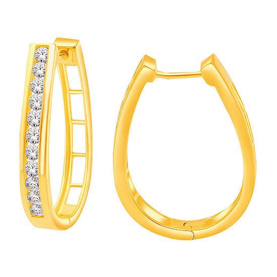 1 CT. T.W. Diamond 14K Yellow Gold Over Silver Hoop Earrings