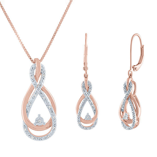 1/10 CT. T.W. Genuine Diamond 14K Rose Gold Over Silver 2-pc. Jewelry Set