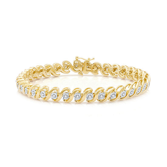 Womens 1/2 CT. T.W. White Diamond 14k Gold Over Silver Tennis Bracelet