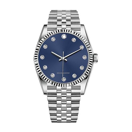 Red Bow Deal 1/10 C.T. T.W. Diamond Mens Accent Silver Tone Bracelet Watch-03656s-18-J28