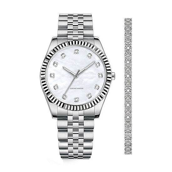 Red Bow  Deal 1/10 C.T. T.W. Womens Diamond Accent Silver Tone 2-pc. Watch Boxed Set-7643s-18-E28