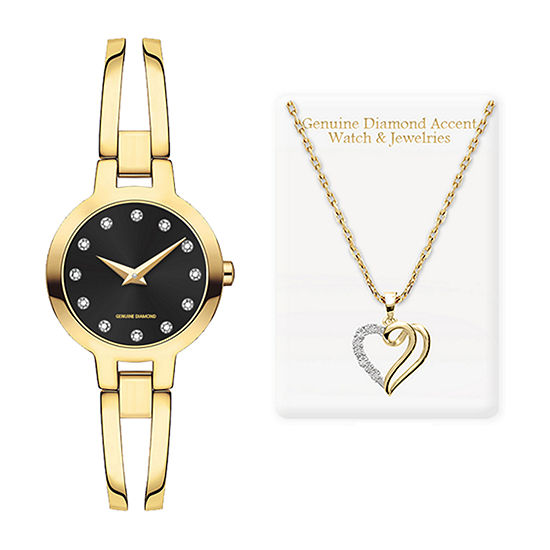 Red Bow  Deal 1/10 C.T. T.W. Womens Diamond Accent Gold Tone 2-pc. Watch Boxed Set-7637g-18-G27