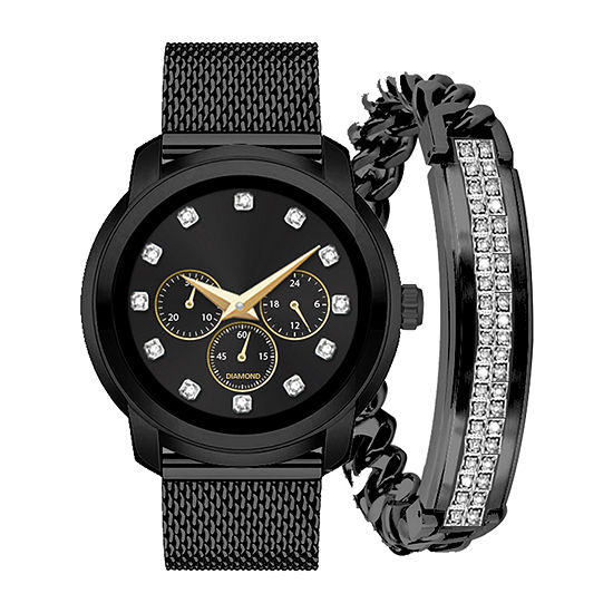 Red Bow  Deal 1/10 C.T. T.W. Mens Diamond Accent Black Watch Boxed Set-9074u-18-G30