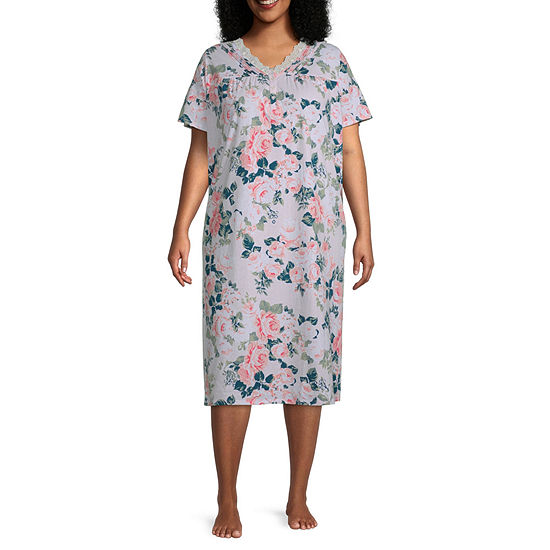 Adonna Womens Plus Short Sleeve V Neck Nightgown