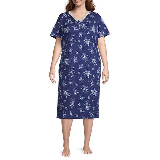 Adonna Womens Plus Short Sleeve V Neck Nightgown
