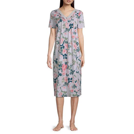 Adonna Womens Petite  Short Sleeve V Neck Nightgown