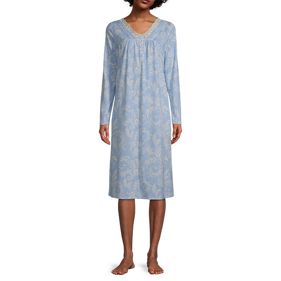 Adonna Womens Long Sleeve V Neck Nightgown