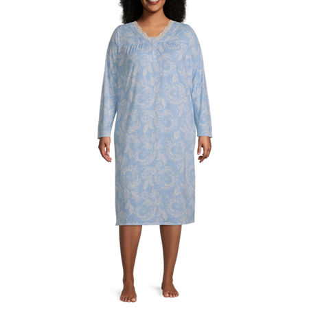 Adonna Womens Plus Long Sleeve V Neck Nightgown, 1x , Blue