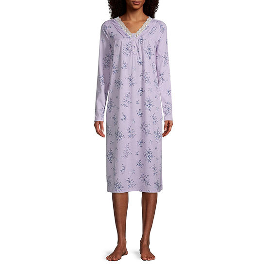 Adonna Womens Petite Long Sleeve V Neck Nightgown