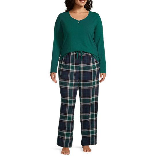 Liz Claiborne Womens-Plus Long Sleeve Pant Pajama Set 3-pc.