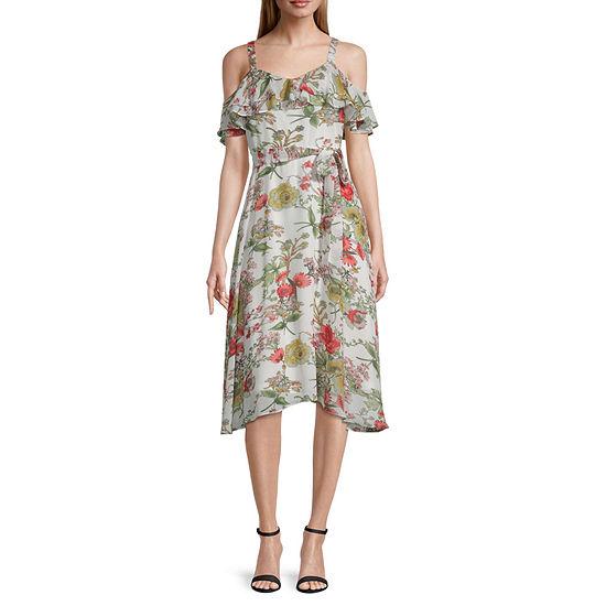 Bleecker 126 Cold Shoulder Floral Fit & Flare Dress