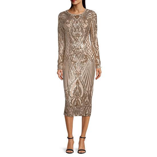 Premier Amour Long Sleeve Sequin Sheath Dress