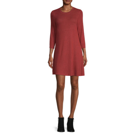 by&by-Juniors 3/4 Sleeve Sweater Dress, Small , Brown