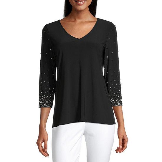 MSK Womens V Neck 3/4 Sleeve Knit Embellished Blouse