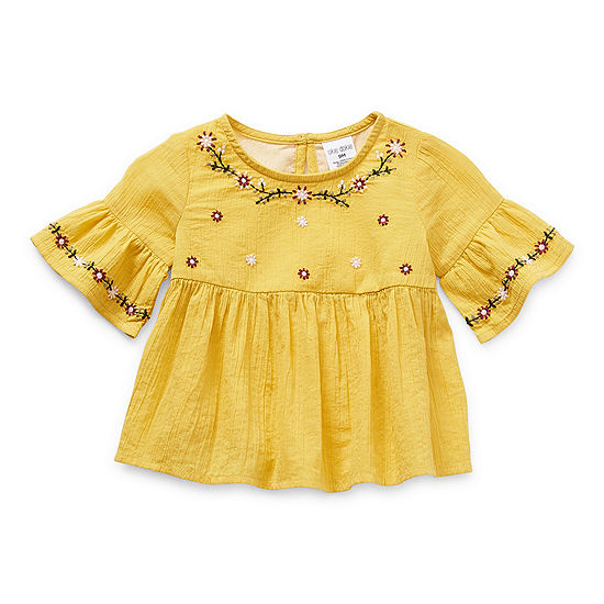 Okie Dokie Baby Girls Round Neck Short Sleeve Peasant Top