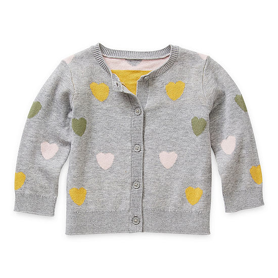 Okie Dokie Baby Girls Round Neck Long Sleeve Cardigan