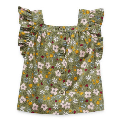 Okie Dokie Toddler Girls Square Neck Sleeveless T-Shirt