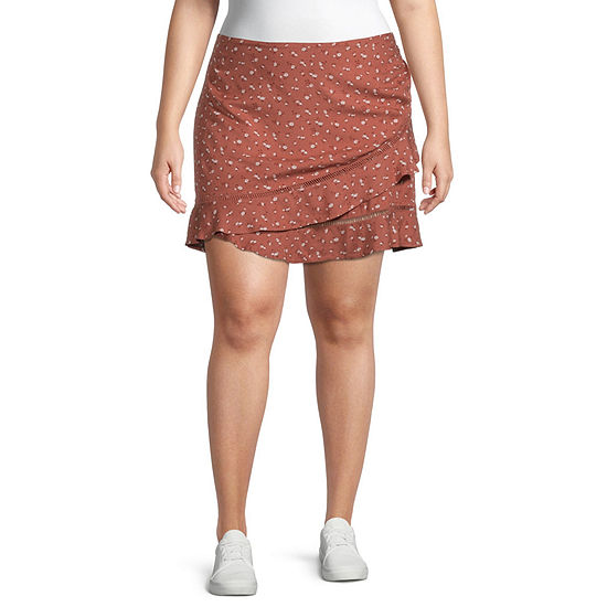 Arizona Womens Asymmetrical Skirt-Juniors Plus
