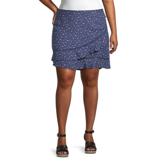 Arizona Womens Asymmetrical Skirt-Juniors Plus
