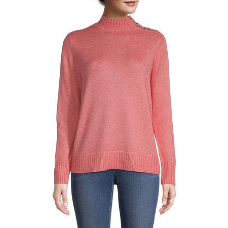 St. John's Bay Womens Mock Neck Long Sleeve Pullover Sweater, Medium , Red