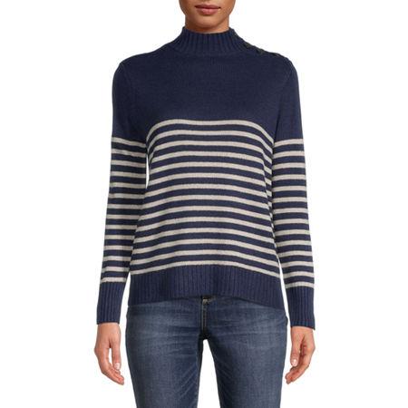 St. John's Bay Womens Mock Neck Long Sleeve Pullover Sweater, Xx-large , Blue - 84505030505